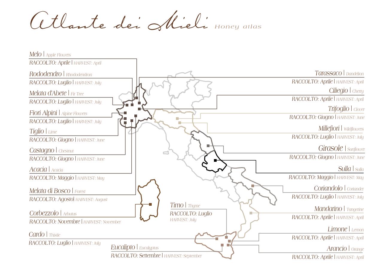 Atlante dei mieli italiani prodotti da Brezzo